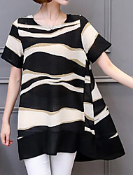 Women's Plus Size Casual/Daily Simple Summer Blouse,Print Round Neck Short Sleeve Acrylic Medium