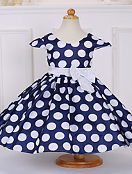 Ball Gown Tea-length Flower Girl Dress - Satin Polyester Short Sleeve Jewel with Bow(s) Flower(s) Pattern / Print Sash / Ribbon