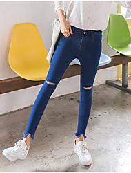 Damen Street Schick Mittlere Hüfthöhe Dehnbar Jeans Skinny Hose einfarbig