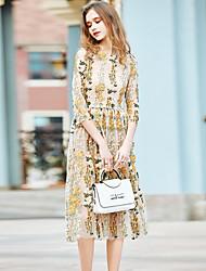 Для женщин На выход На каждый день Праздники А-силуэт Платье Вышивка,Круглый вырез Средней длины Хлопок Полиэстер Весна ЛетоСо