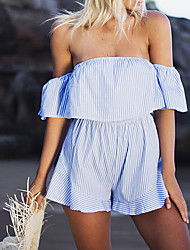 Women's Off Shoulder/Fine Stripe Petite Slim Rompers,Casual/Daily Beach Street chic Striped Backless Boat Neck Short Sleeve Mid Rise Summer