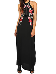 Women's Going out Casual/Daily Simple Sheath Dress,Solid Print Halter Maxi Sleeveless Polyester All Seasons Low Rise Micro-elastic Medium