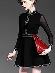 Europa e América no início da primavera de 2017 nova coleira cor da costura sólida fio manga cintura fina vestido vermelho grande