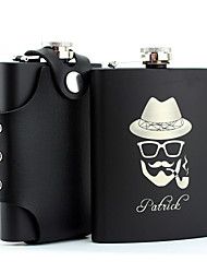 Personalized Stainless Steel 8-oz Black Flask with Holster  Hip Flasks Cool Man