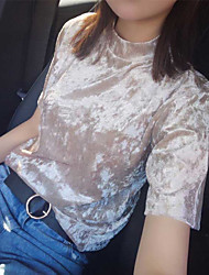 Tee-shirt Femme,Couleur Pleine Sortie simple Manches Courtes Mao Rayonne