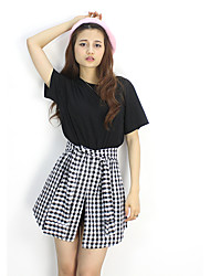 Sign with Korean casual leave two short-sleeved dress waist plaid tie knot