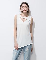 Feminino Camiseta Para Noite Praia Férias Simples Moda de Rua Verão,Sólido Algodão Decote V Sem Manga Fina
