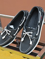 Men's Boat Shoes Spring Fall Comfort Cowhide Casual Low Heel Black