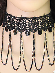 Choker Necklaces Alloy Lace Acrylic Tassel Euramerican Fashion Round Jewelry Women's Party 1pc