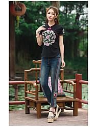 Dames Vintage T-shirt,Uitgaan Bloemen Opstaand Korte mouw Katoen