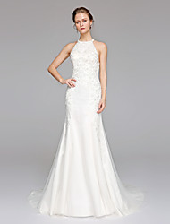 LAN TING BRIDE Trumpet / Mermaid Wedding Dress Open Back Sweep / Brush Train Jewel Lace Tulle with