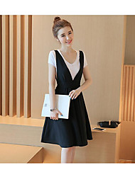Women's Casual/Daily Simple Black and White Dress,Solid V Neck Above Knee Short Sleeve Rayon Summer Low Rise Inelastic Thin