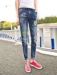 Herren Vintage Mittlere Hüfthöhe Micro-elastisch Jeans Skinny Hose Buchstabe