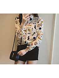 2017 spring new Korean Women lapel long-sleeved clothes printing letters fashion wild thin shirt