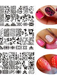 1шт красочный дизайн сладкий кружева красивый дизайн ногтей штамповки пластины ногтя нержавеющей стали штамповки пластины моды кружева