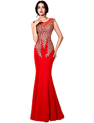 Mermaid / Trumpet Jewel Neck Floor Length Jersey Formal Evening Dress with Embroidery by Sarahbridal