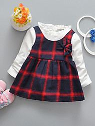 Girl's Casual/Daily Holiday Check Dress,Cotton Spring Long Sleeve