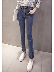 Sign 2061 Winter new Korean version of Slim thin female jeans tight jeans stitching trousers