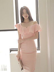 New women flouncing Slim sexy low-cut dresses ladies temperament dress Spot