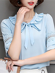 Women's Going out Casual/Daily Work Street chic Spring Summer Shirt,Solid Peter Pan Collar Polyester Medium