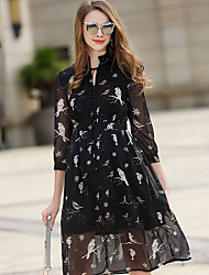 Women's Going out Casual/Daily Loose Dress,Floral Deep V Midi ¾ Sleeve Polyester Spring Summer Mid Rise Inelastic Thin