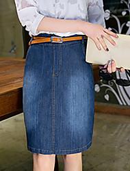 Знак 9889 # 2017 новый большой размер джинсовый юбка юбка s to 4xl отправить ремень