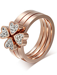 Wemen's Four loving Heart rose gold CZ Diamond Ring Separated Titanium Steel Brand Jewelry for Female Wholesale R-092