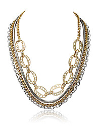 Bohemian Gold and Rhoudium Mixed Multi Layered Chains Necklace