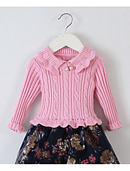 Casual/Daily Solid Blouse,Cotton Winter Regular