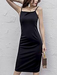 Mujer Pequeño Negro Vestido Playa Vacaciones Sexy,Un Color Sin Tirantes Sobre la rodilla Sin Mangas Algodón Primavera Verano Tiro Medio