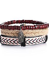 3pcs/set Punk Men's Bracelet PU Leather Bracelet Adjustable Beads Multilayer for Men Fashion Jewelry