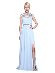 A-Line Jewel Neck Floor Length Chiffon Bridesmaid Dress with Beading Pleats by LAN TING BRIDE®