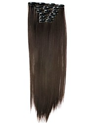 Synthetic Hair 58cm 130g with Clips 16 Clip in Hair Extensions False Hair Hairpieces Synthetic 23inch Long Straight Apply HairpieceD1014 4#