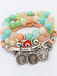 Charm Bracelet Strand Bracelet Alloy Glass Round Fashion Bohemia Women's Jewelry 1set