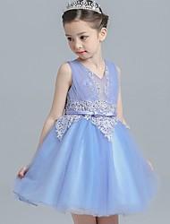 Ball Gown Short / Mini Flower Girl Dress - Cotton Satin Tulle Sleeveless V-neck with Bow(s) Ruffles Sash / Ribbon