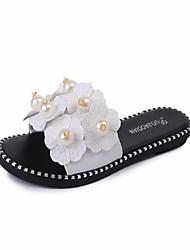 Damen-Slippers & Flip-Flops-Party & Festivität Kleid Lässig-PU-Flacher Absatz-Neuheit-Weiß Schwarz Rosa