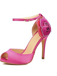 Women's Sandals Spring Summer Club Shoes Satin Flower Wedding Party & Evening Dress Stiletto Heel Satin Flower Fuchsia Black high heels Sandals