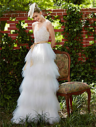 A-line Wedding Dress Beautiful Back Floor-length V-neck Lace Tulle with Appliques Sash / Ribbon