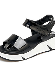Women's Sandals Summer Fall Slingback PU Office & Career Party & Evening Dress Platform Magic Tape Black White
