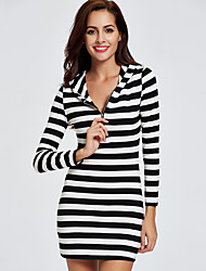 Women's Casual/Daily Beach Holiday Street chic Active Shift Dress,Striped Hooded Mini Long Sleeve Cotton Polyester All Seasons High Rise