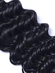 Cabelo Humano Ondulado Cabelo Malaio Onda Profunda 12 meses 3 Peças tece cabelo