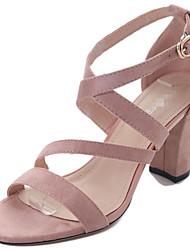 Damen-Sandalen-Lässig-Kaschmir-Blockabsatz-Komfort-