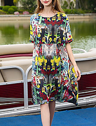 Women's Casual/Daily Simple Loose Dress,Print Round Neck Knee-length Short Sleeve Polyester Summer Mid Rise Inelastic Thin