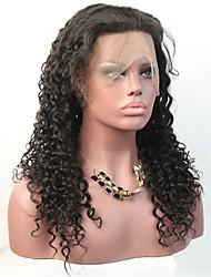 Peruca encaracolado dianteira do laço do cabelo humano para mulheres pretas com hairline da ilusão do cabelo do bebê