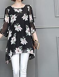 Damen Blumen Einfach Lässig/Alltäglich T-shirt,Rundhalsausschnitt Kurzarm Seide