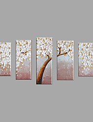 Hand-Painted Modern White Flower Tree Oil Painting For Home Decoration With Stretched Frame Ready To Hang