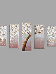 Ручная роспись Цветочные мотивы/ботанический Горизонтальная,Пастораль Европейский стиль 5 панелей Холст Hang-роспись маслом For Украшение