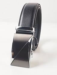 Men's casual fashion leather with silver matte black button drawing surface automatic belt