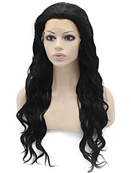 Heat Resistant Synthetic Lace Front Wigs Water Wave Black Color Fiber Hair Wig