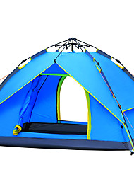 3-4 persons Tent Double Automatic Tent One Room Camping Tent Fiberglass Ultraviolet Resistant Windproof-Hiking Camping-Sky blue